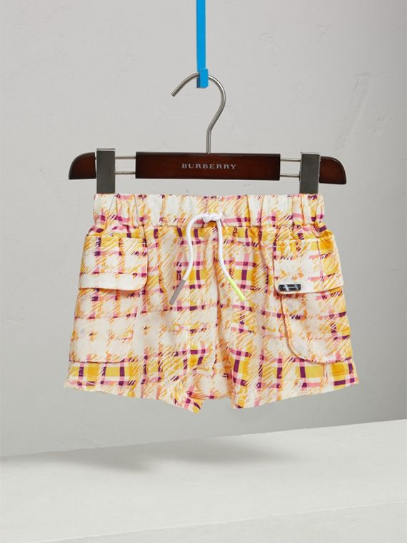 Scribble Check Silk Drawstring Shorts in Amber Yellow