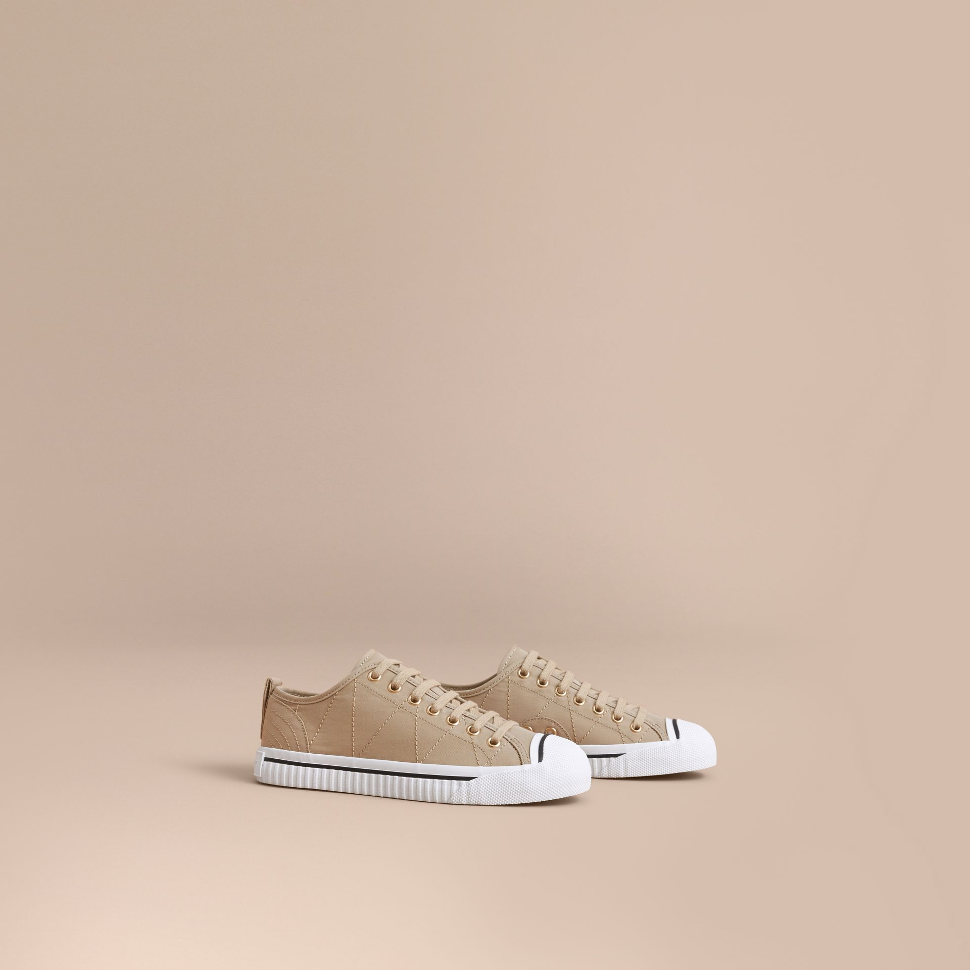 Topstitched Cotton Gabardine Trainers in Honey - Women | Burberry - gallery image 0