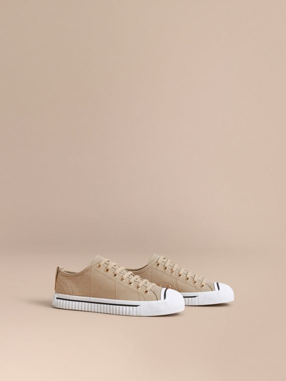 Topstitched Cotton Gabardine Trainers - Women | Burberry