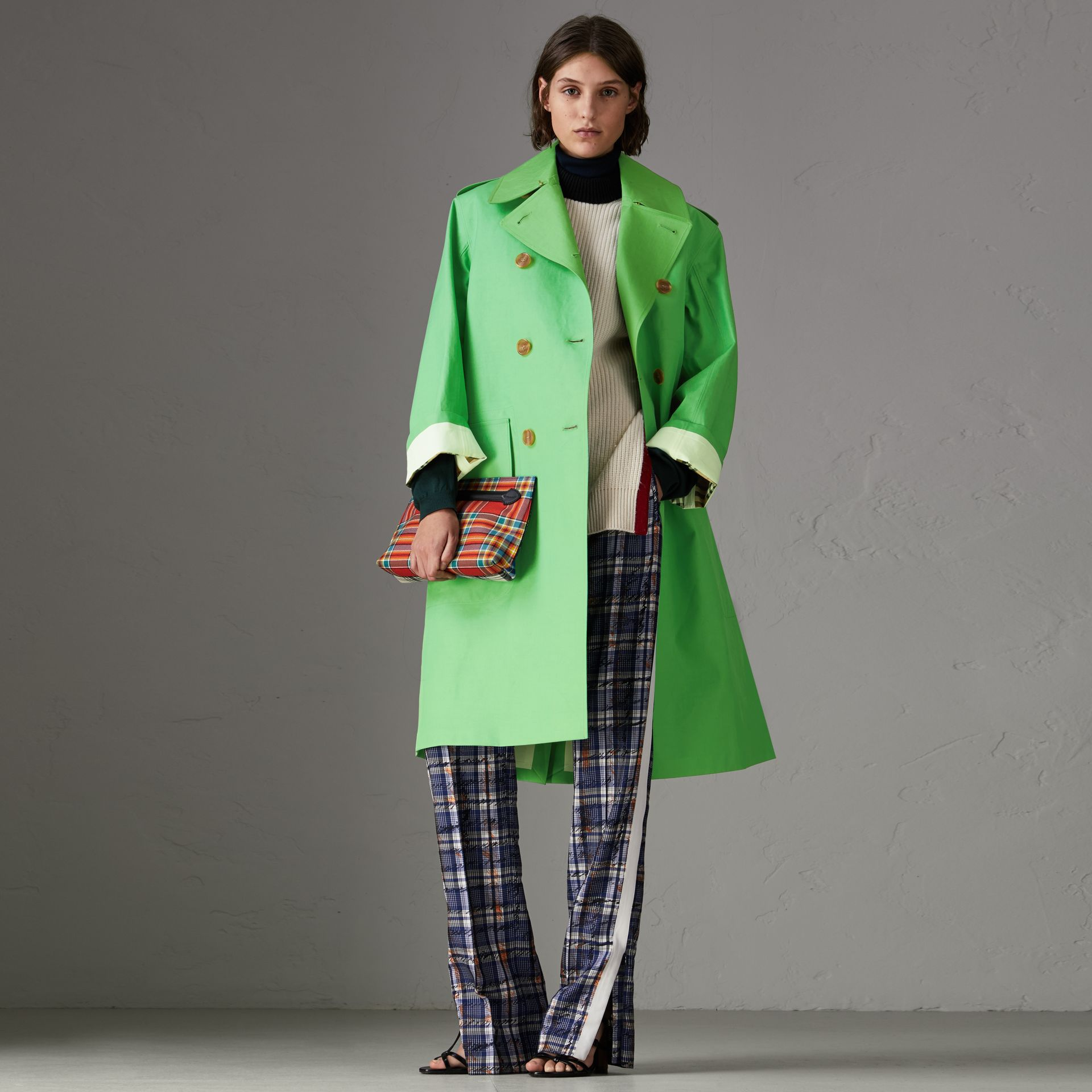 Bonded Cotton Double-breasted Coat in Bright Pigment Green - Women | Burberry - gallery image 0