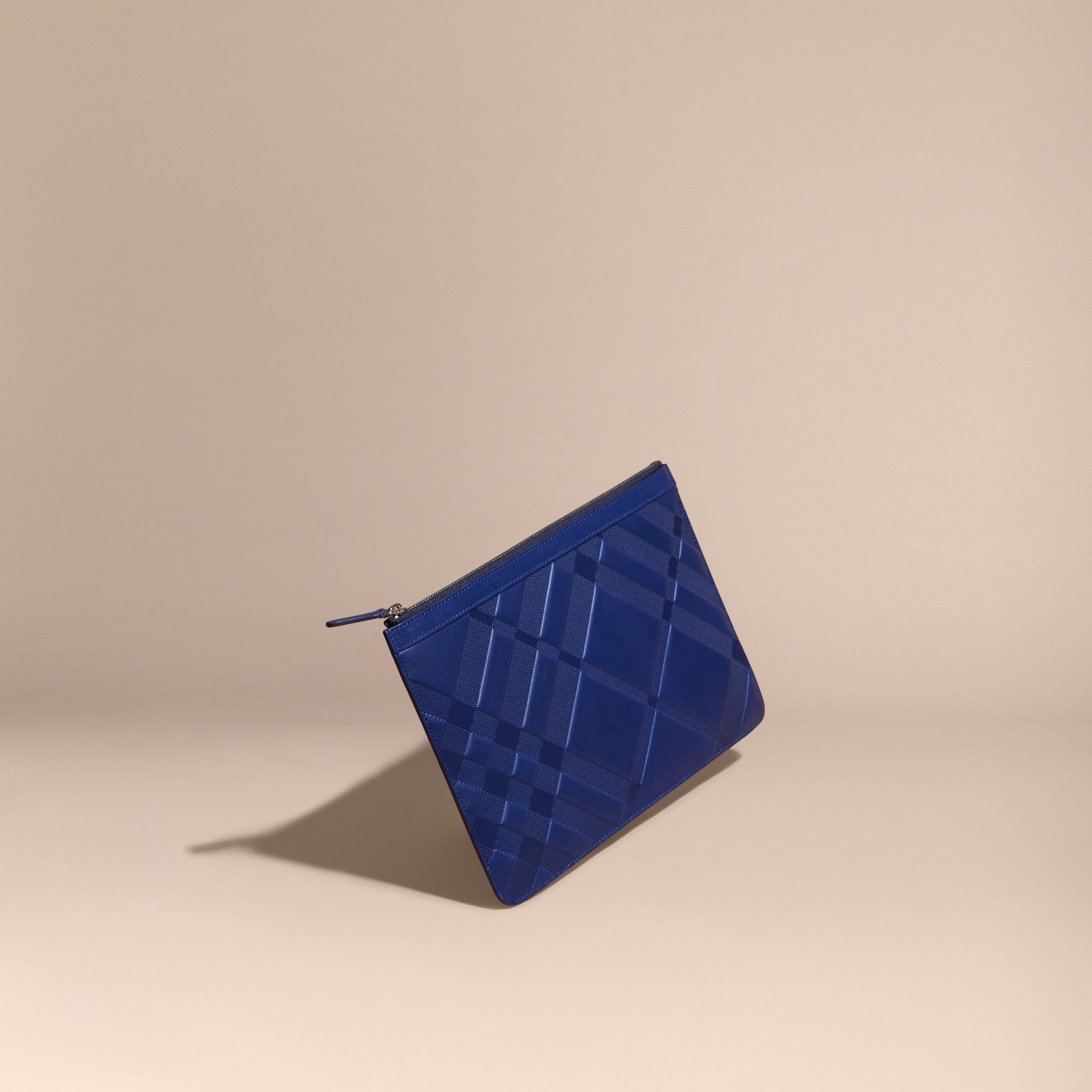 Lapis blue Check-embossed Leather Pouch Lapis Blue - gallery image 1
