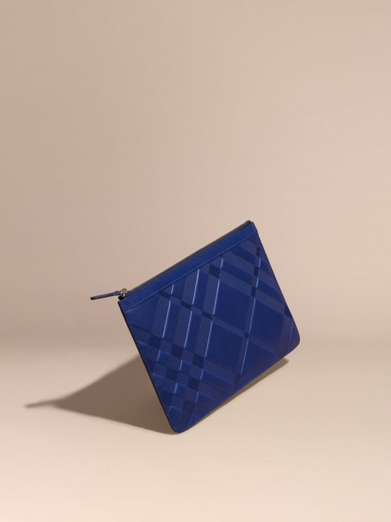 Check-embossed Leather Pouch Lapis Blue