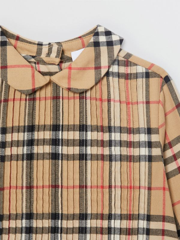 Pintuck Detail Vintage Check Cotton Twill Blouse in Archive Beige | Burberry - cell image 3