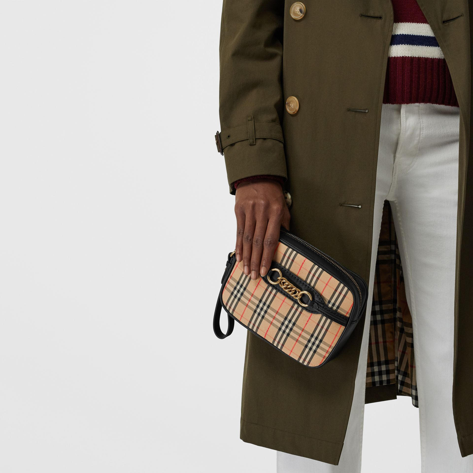 The 1983 Check Link Bum Bag with Leather Trim in Black - Women | Burberry United Kingdom - gallery image 2