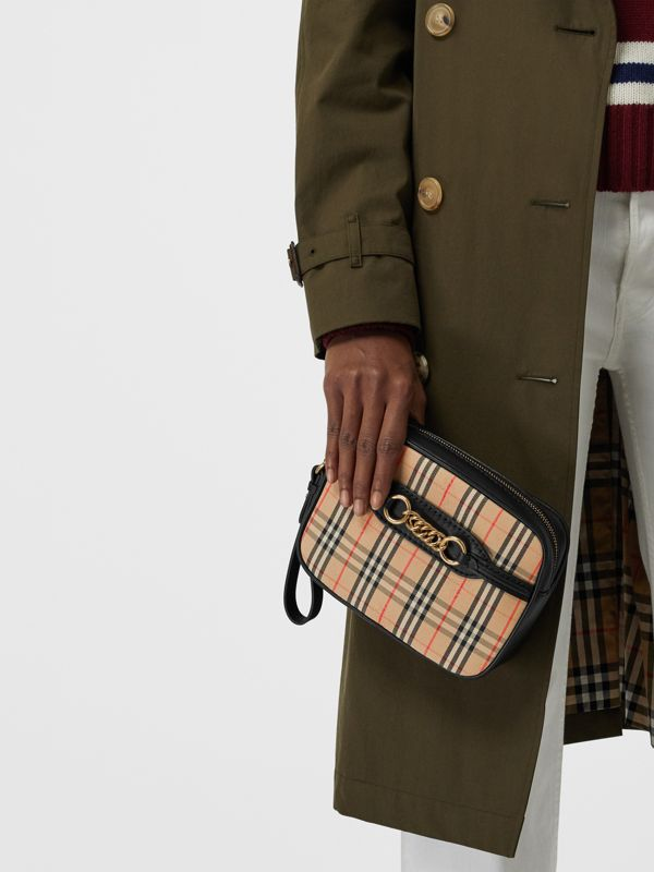 The 1983 Check Link Bum Bag with Leather Trim in Black - Women | Burberry United Kingdom - cell image 2