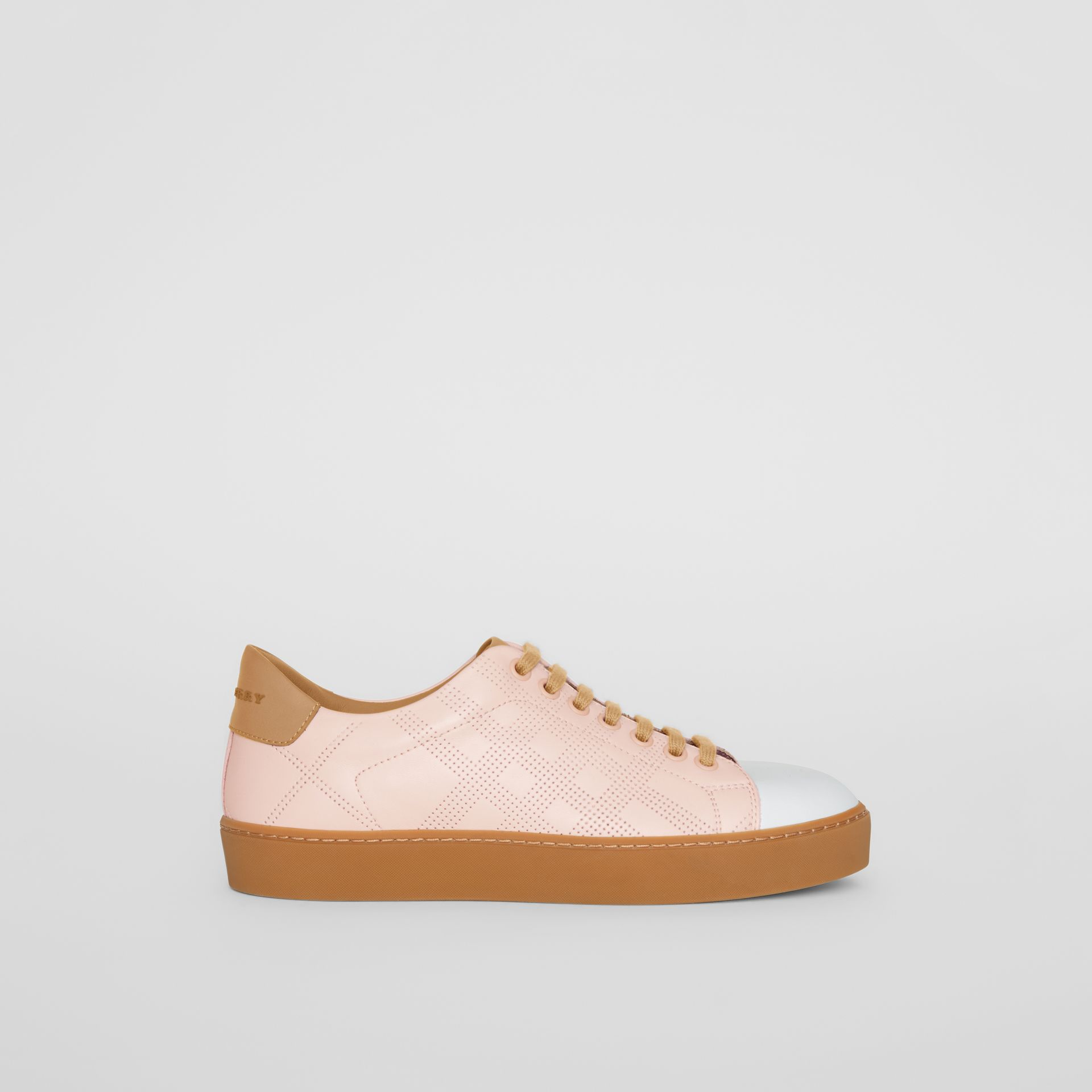Tri-tone Perforated Check Leather Sneakers in Pale Pink - Women | Burberry - gallery image 5