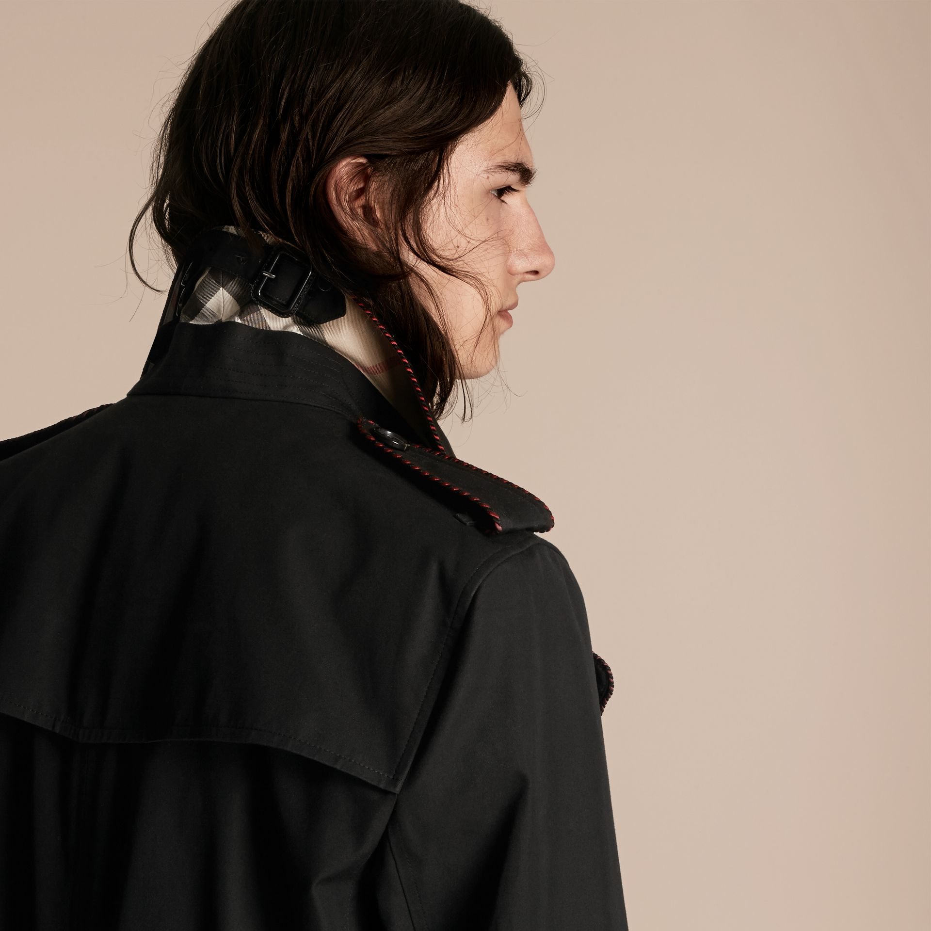 Black Trench Coat with Regimental Piping Black - gallery image 4