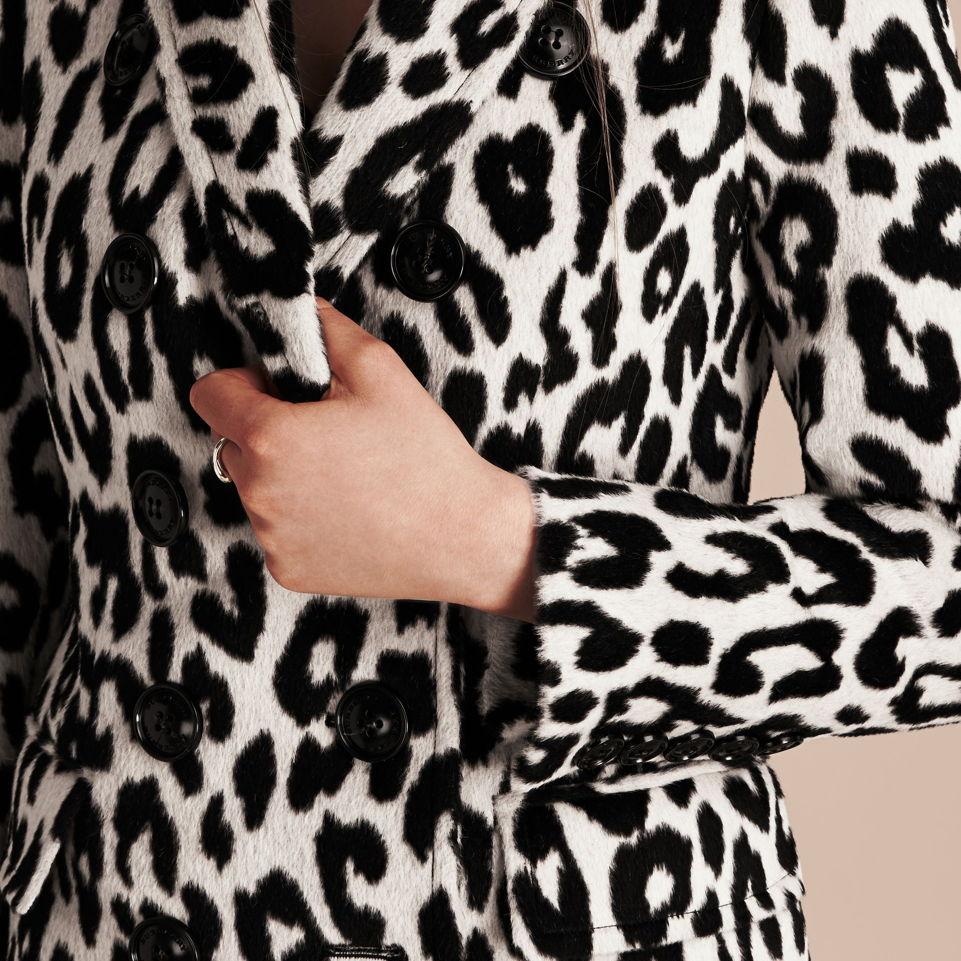 Black/white Leopard Jacquard Lama Wool Coat - gallery image 6