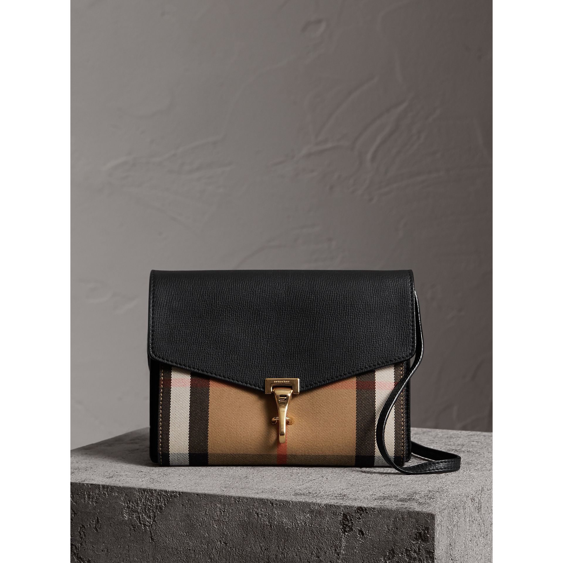 Small Leather and House Check Crossbody Bag in Black - Women | Burberry Canada - gallery image 0
