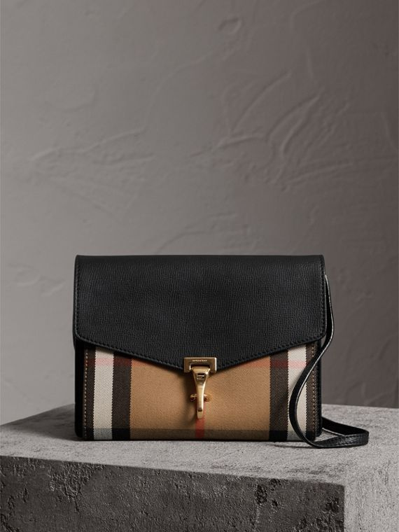 Small Leather and House Check Crossbody Bag in Black