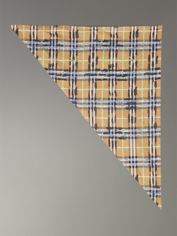 Scribble Check Cotton Scarf in Antique Yellow | Burberry - cell image 2