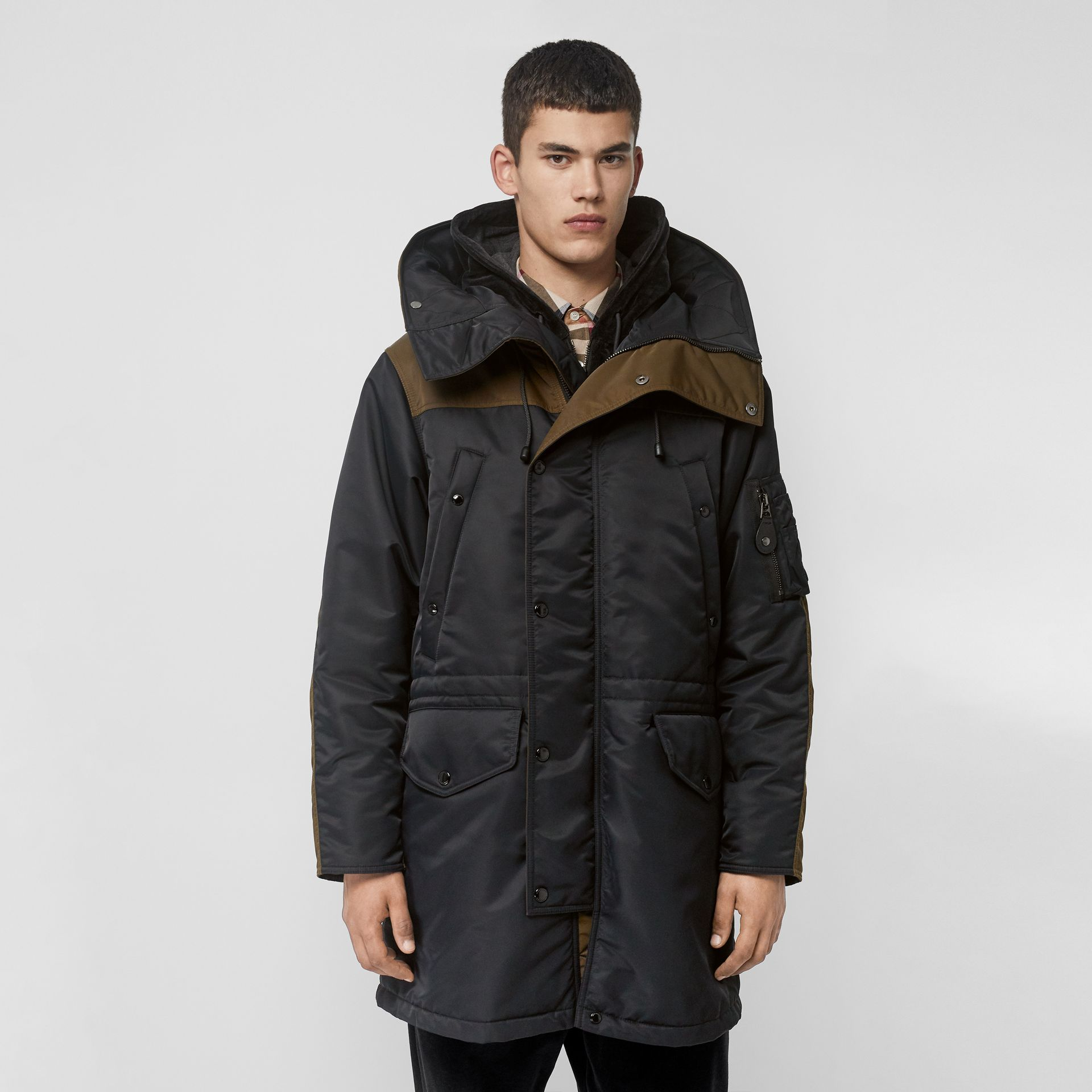 Colour Block Padded Hooded Parka in Black - Men | Burberry - gallery image 4