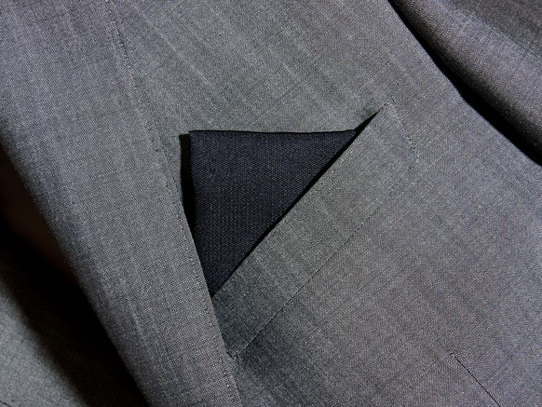 Silk Pocket Square in Midnight - cell image 2