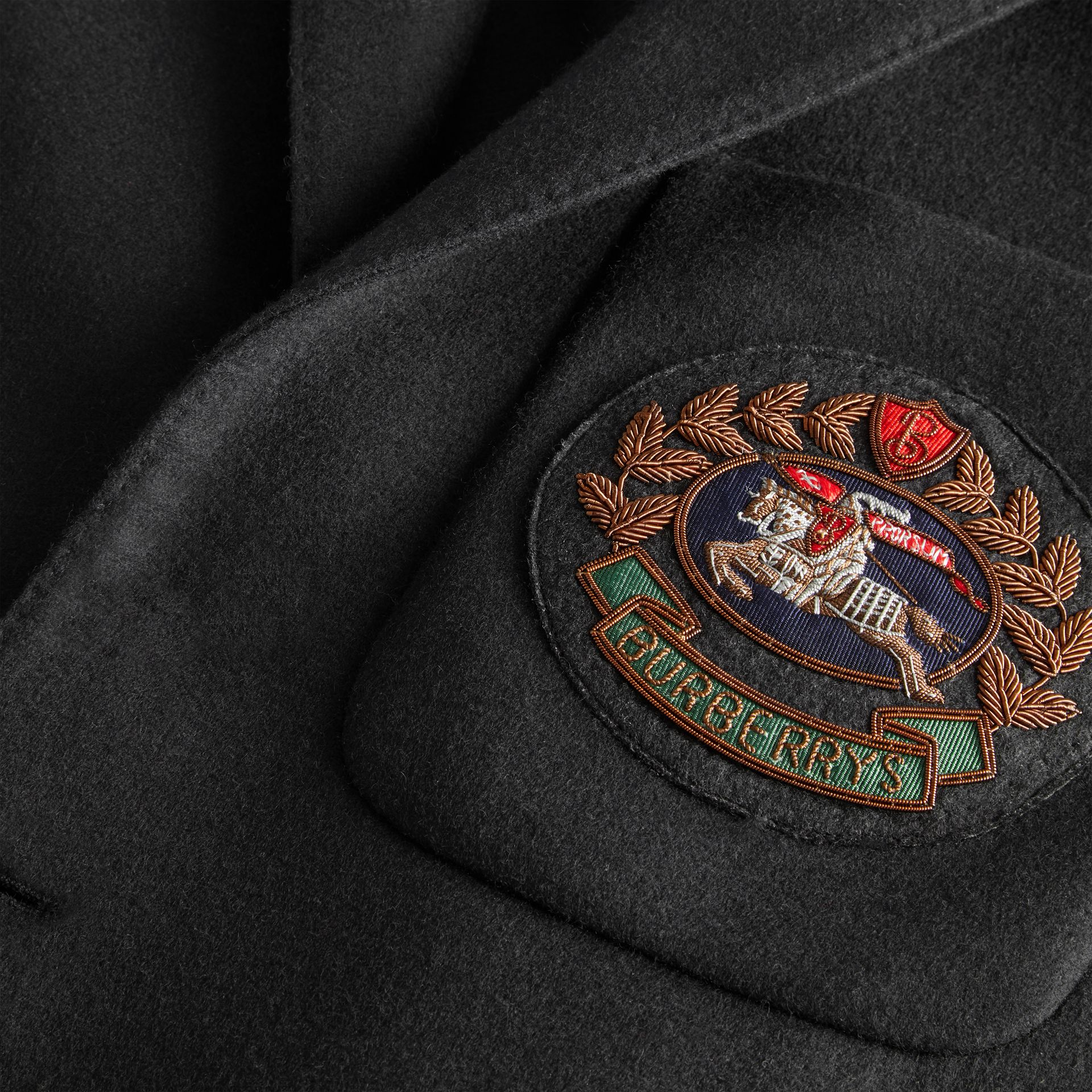 Slim Fit Embroidered Crest Wool Club Blazer in Black - Men | Burberry - gallery image 6