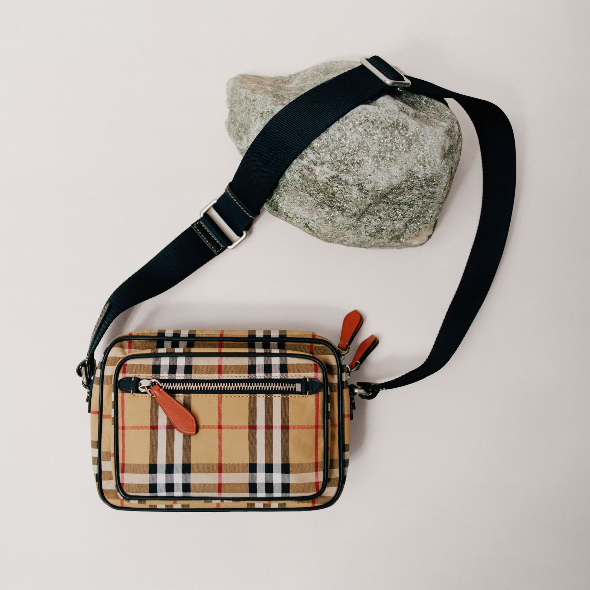 Vintage Check and Leather Crossbody Bag in Clementine - Men | Burberry - gallery image 1