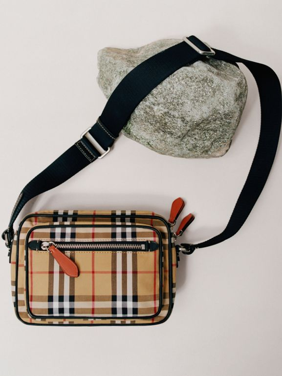 Vintage Check and Leather Crossbody Bag in Clementine - Men | Burberry United Kingdom - cell image 1