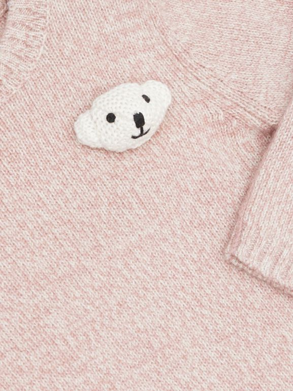 Thomas Bear Detail Wool Cashmere Sweater in Light Pink - Children | Burberry - cell image 1