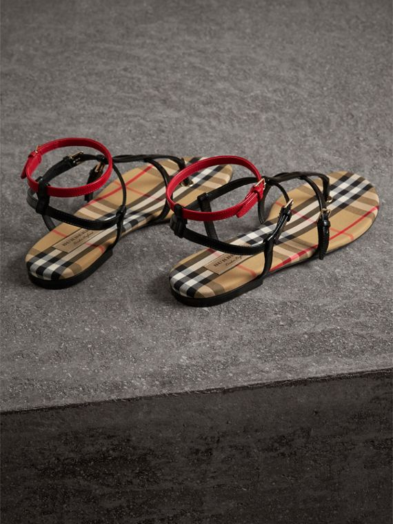 Vintage Check and Leather Sandals in Black - Women | Burberry Singapore - cell image 3
