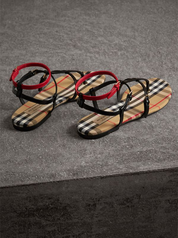 Vintage Check and Leather Sandals in Black - Women | Burberry - cell image 3