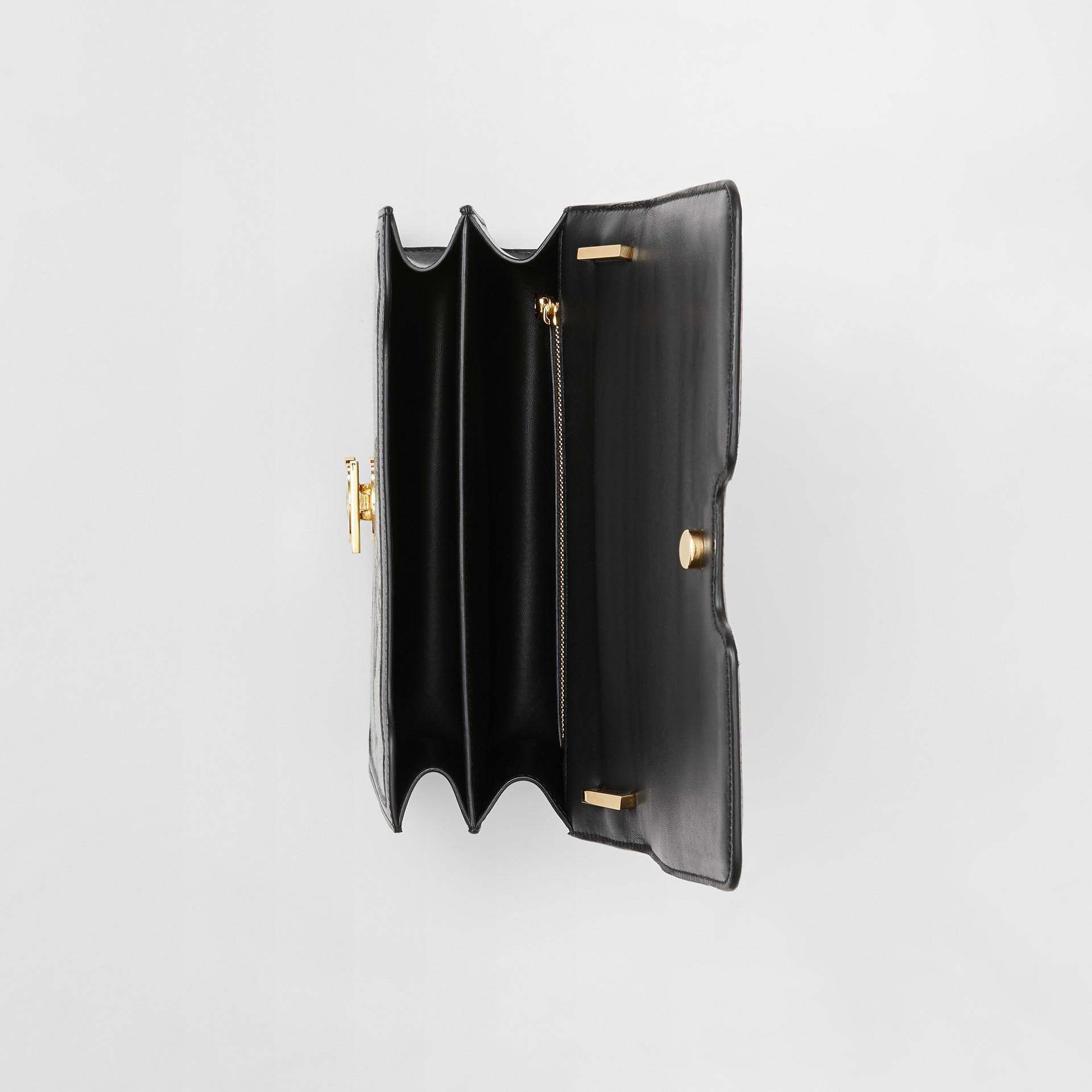 Bolsa TB de couro com recorte de macacos em jacquard - Pequena (Preto/verde Opala) - Mulheres | Burberry - galeria de imagens 4