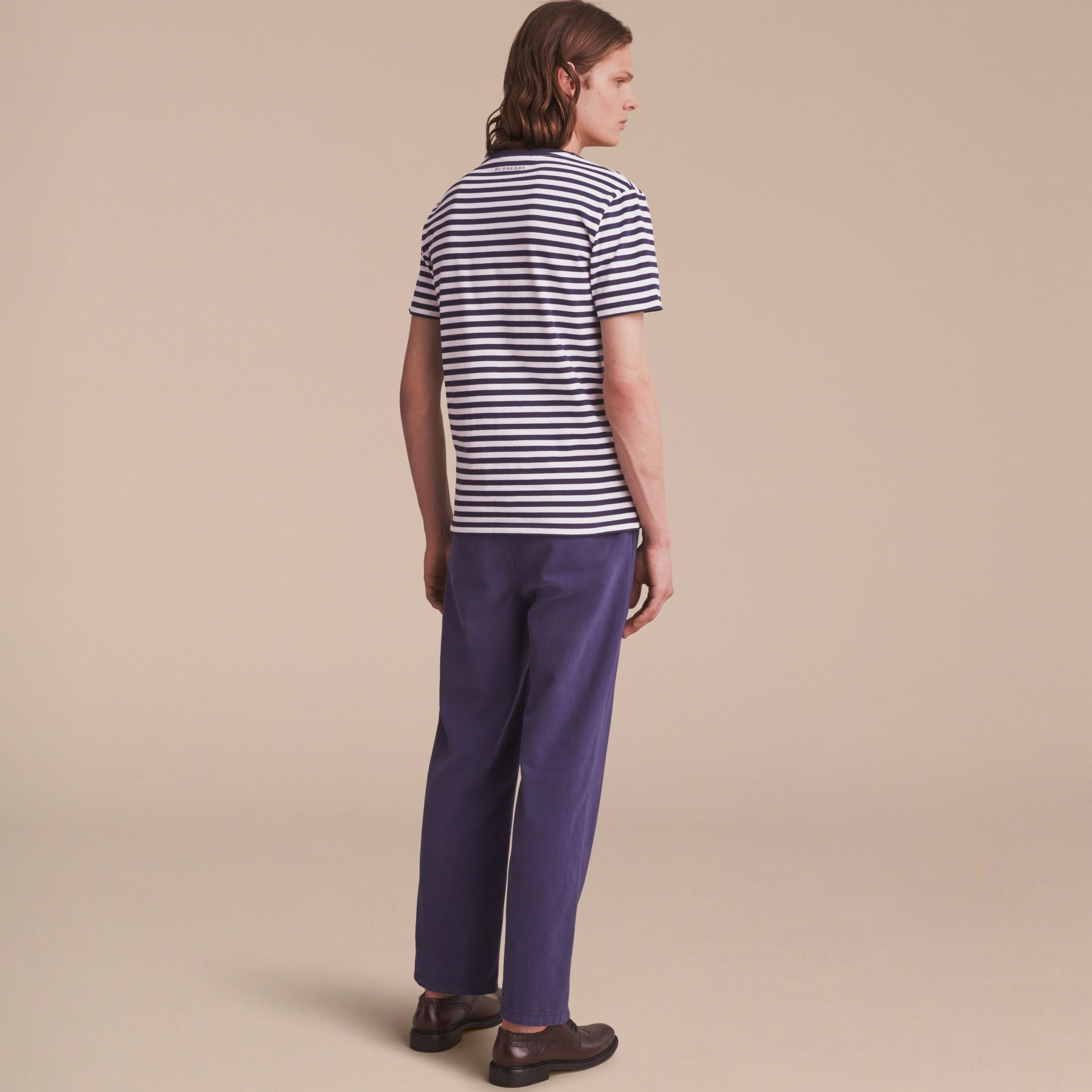 Breton Stripe Cotton T-shirt with Pallas Helmet Motif in Navy/white - Men | Burberry - gallery image 3