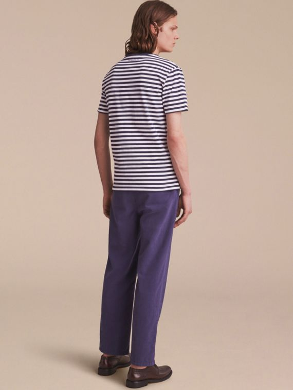 Breton Stripe Cotton T-shirt with Pallas Helmet Motif in Navy/white - Men | Burberry - cell image 2