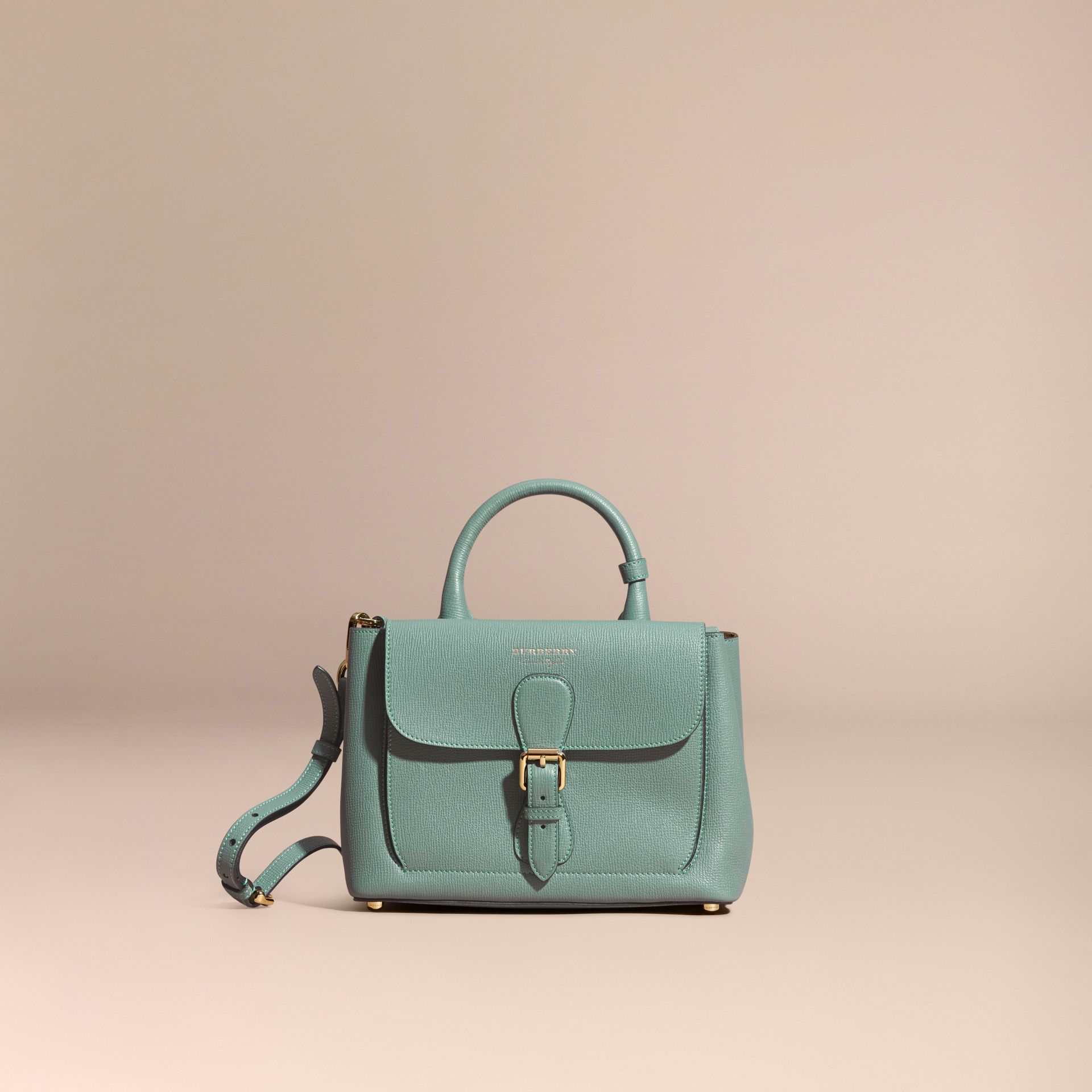 Smokey green The Small Saddle Bag in Grainy Bonded Leather Smokey Green - gallery image 8