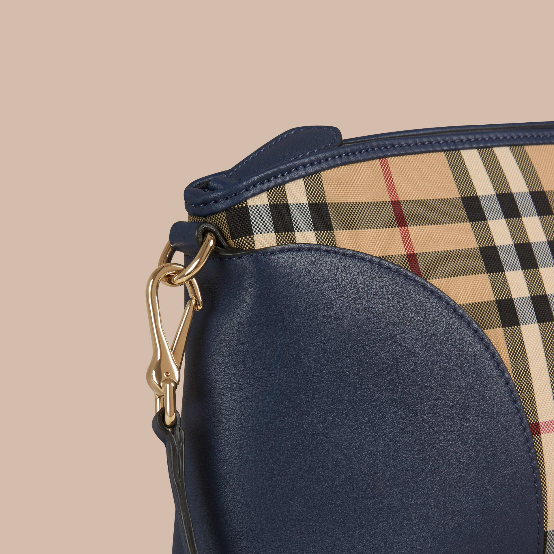 Honey/brilliant navy Horseferry Check and Leather Clutch Bag Honey/brilliant Navy - gallery image 6