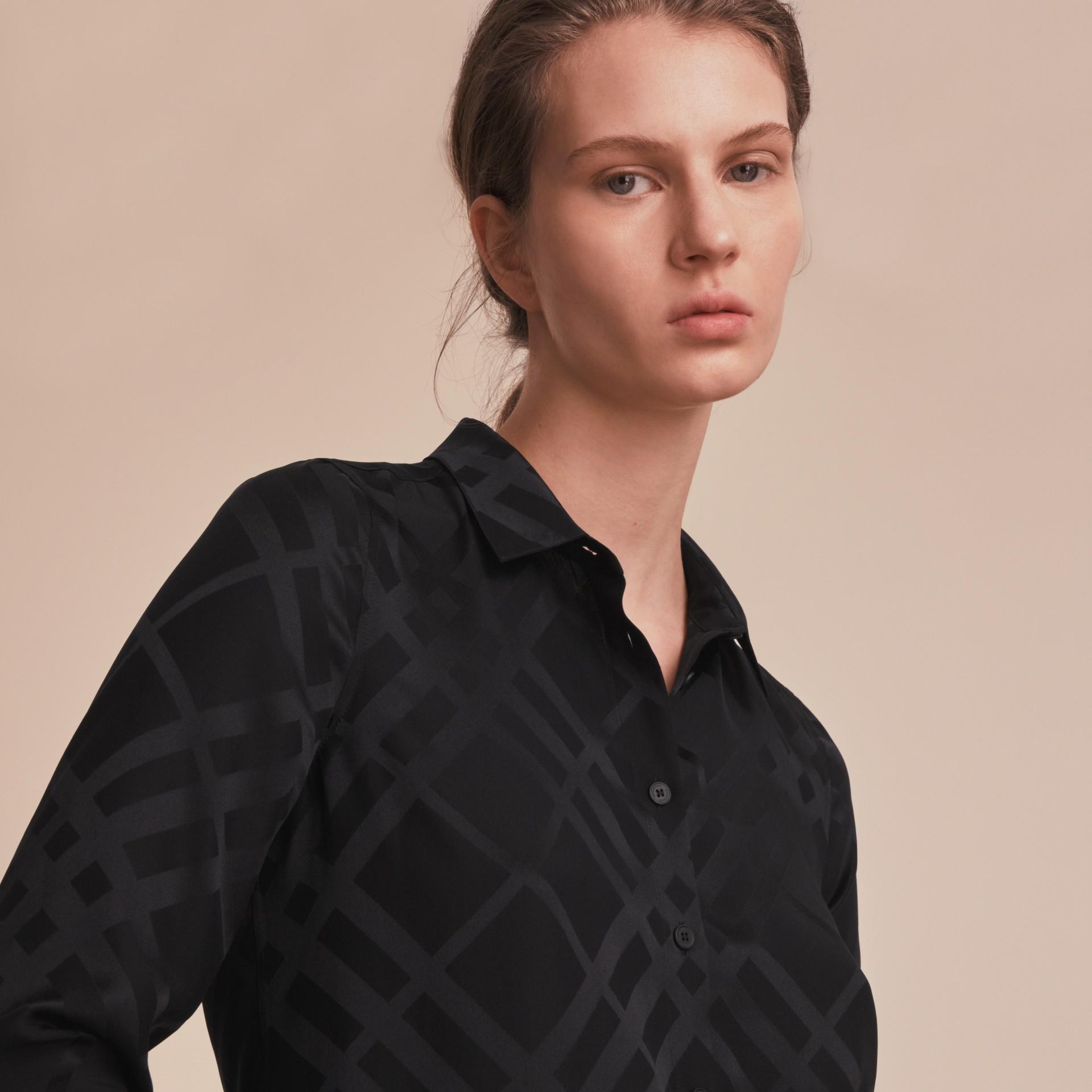 Tonal Check Silk Shirt Black - gallery image 5