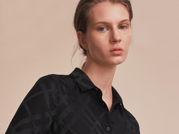 Tonal Check Silk Shirt Black - cell image 4