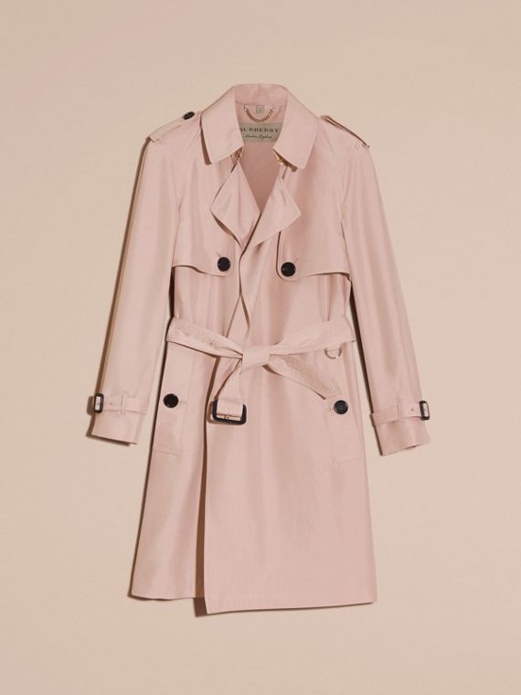 Chalk pink Lightweight Slub Silk Wrap Trench Coat - cell image 3