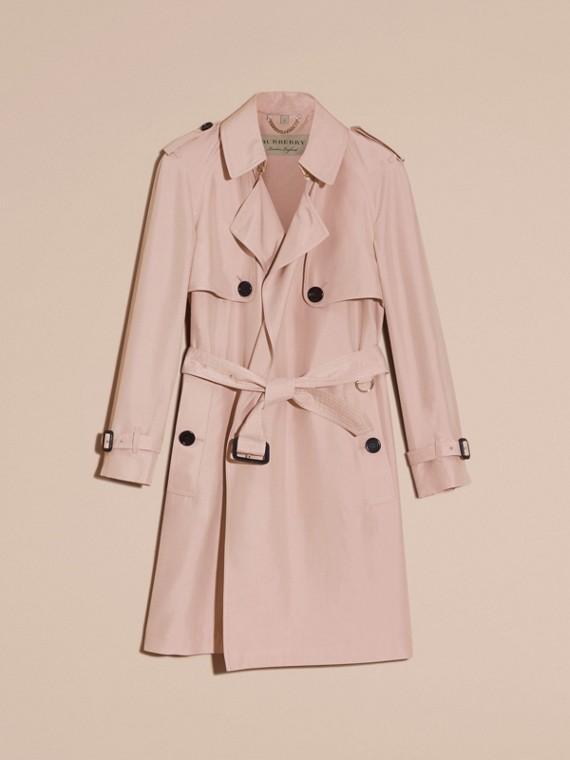 Rose craie Trench-coat portefeuille léger en soie flammée - cell image 3
