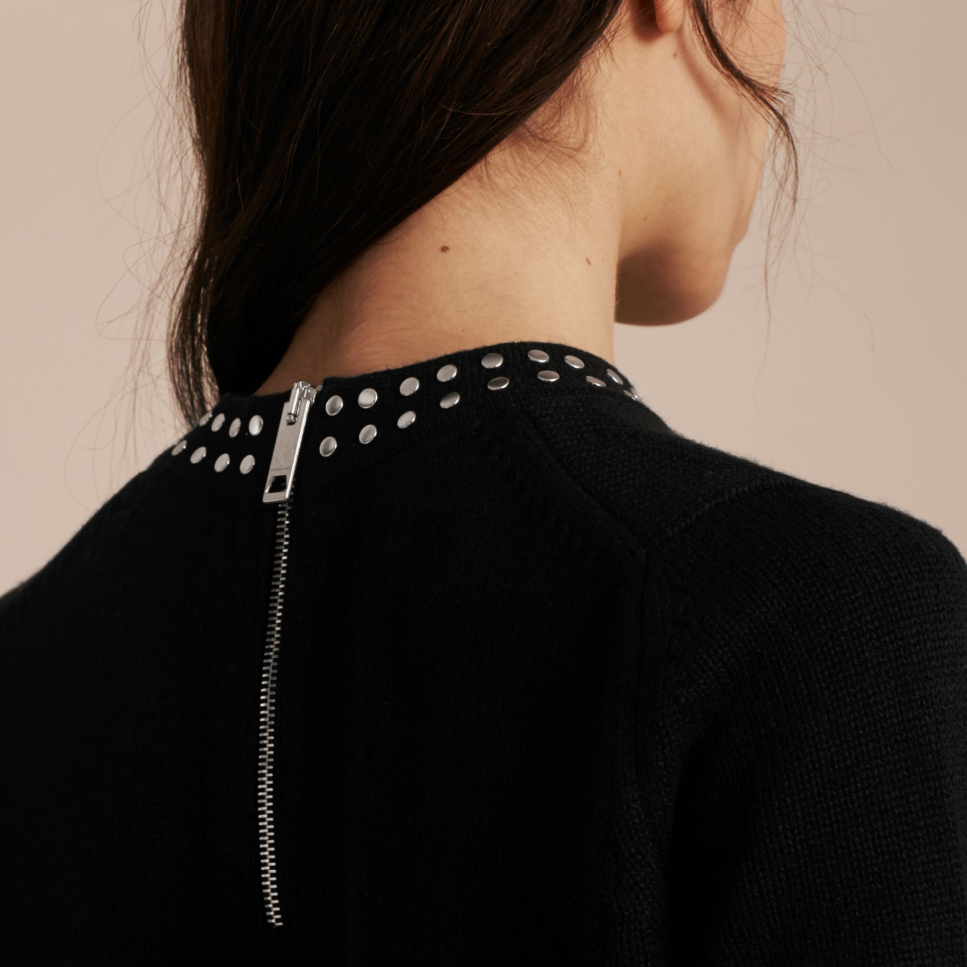 Black Studded Cashmere Cotton Sweater - gallery image 5