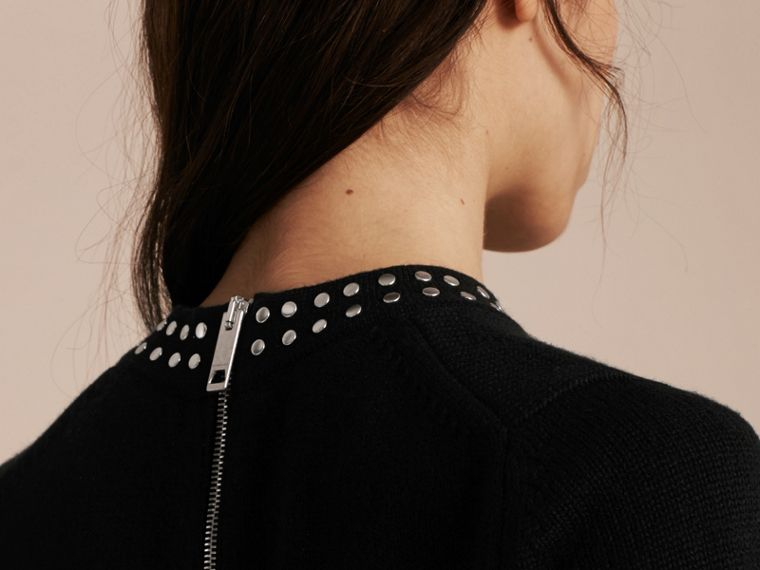 Black Studded Cashmere Cotton Sweater - cell image 4