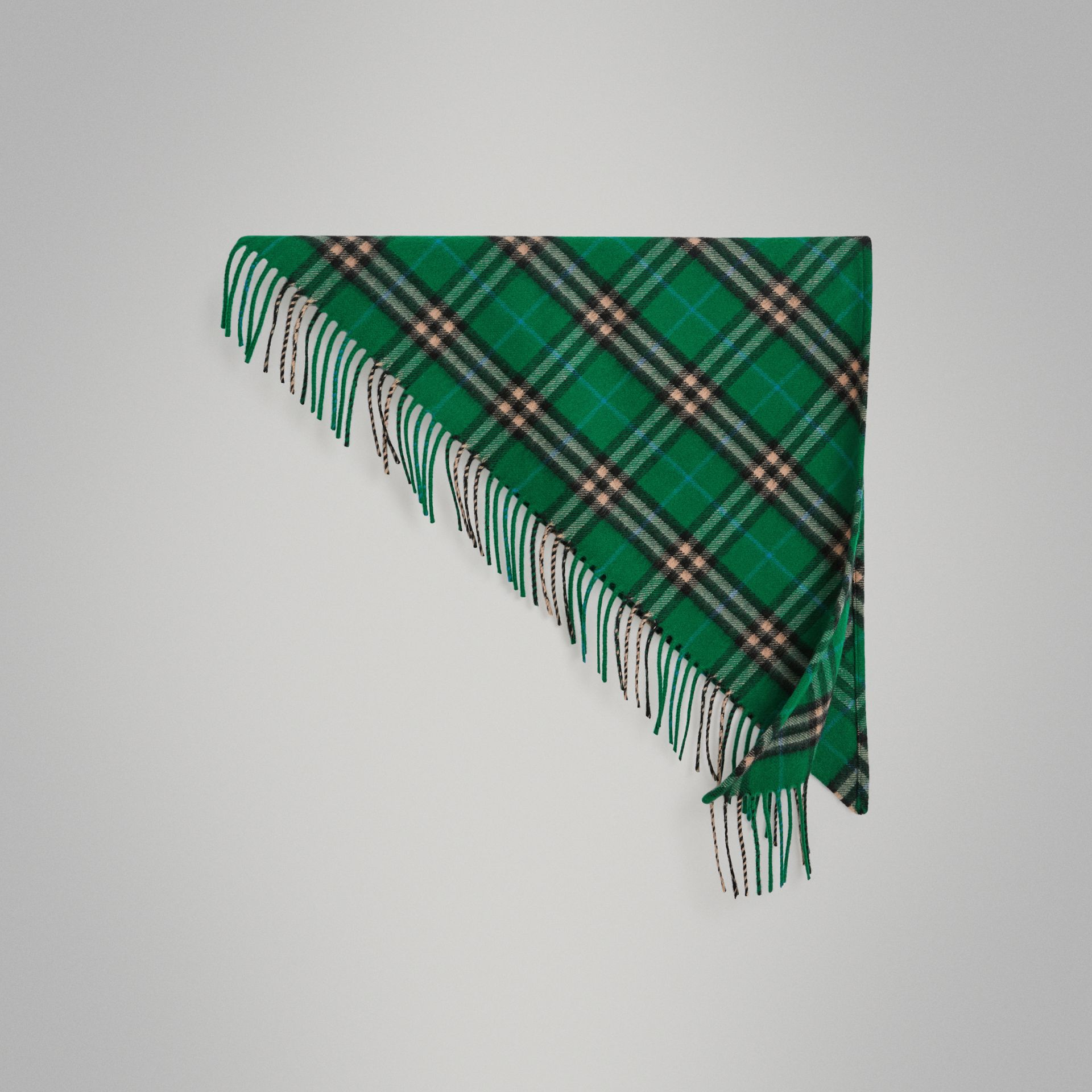 The Mini Burberry Bandana in Check Cashmere in Pine Green | Burberry - gallery image 0
