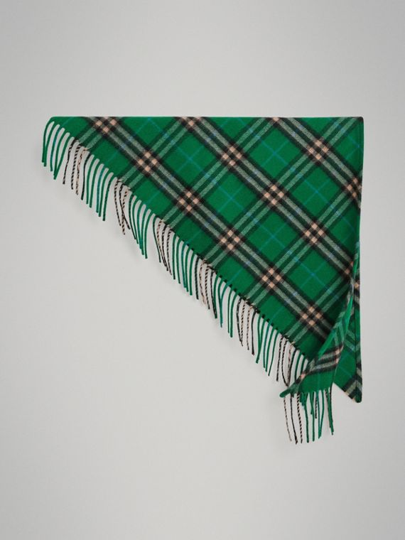 The Mini Burberry Bandana in Check Cashmere in Pine Green