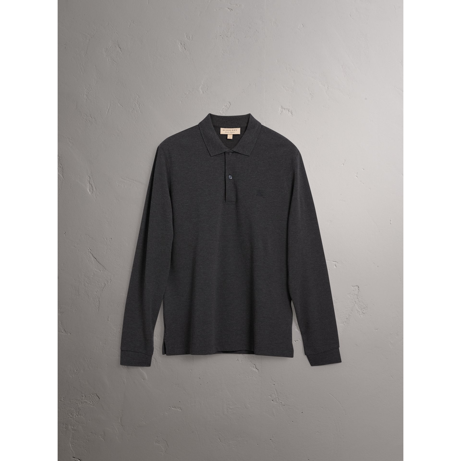 Check Placket Long Sleeve Polo Shirt in Dark Charcoal Melange - Men | Burberry Australia - gallery image 4