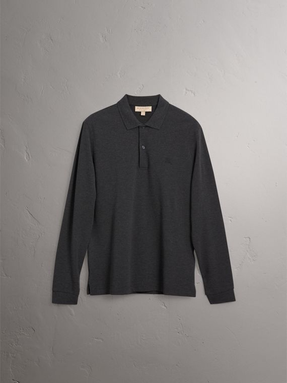 Check Placket Long Sleeve Polo Shirt in Dark Charcoal Melange - Men | Burberry - cell image 3