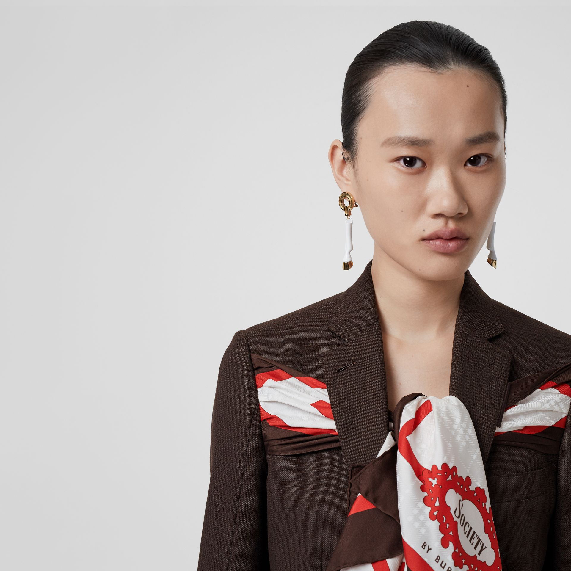 Silk Scarf Detail Wool Tailored Jacket in Coffee - Women | Burberry Singapore - gallery image 6
