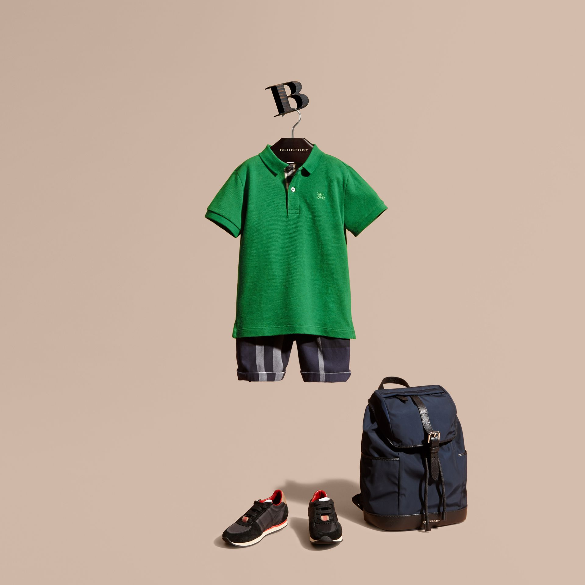Check Placket Polo Shirt in Bright Pigment Green - gallery image 1
