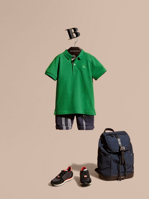 Check Placket Polo Shirt Bright Pigment Green