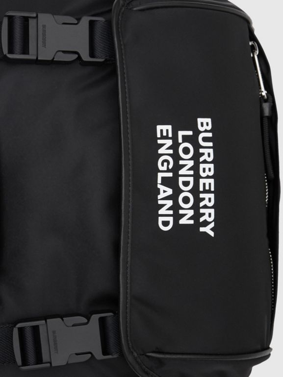 Logo Print ECONYL® Backpack in Black | Burberry Australia - cell image 1