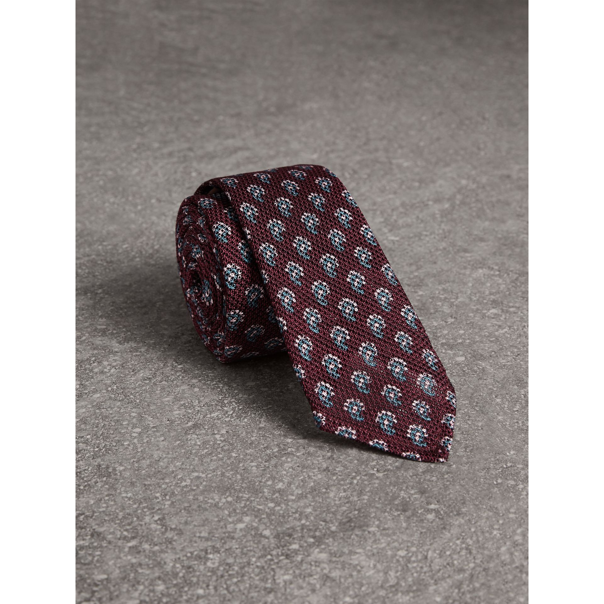 Slim Cut Paisley Silk Tie in Parade Red - Men | Burberry - gallery image 0