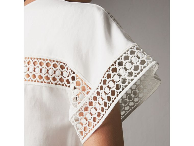 Short-sleeved Macramé Lace Detail Silk Blend Dress in White - Women | Burberry - cell image 1