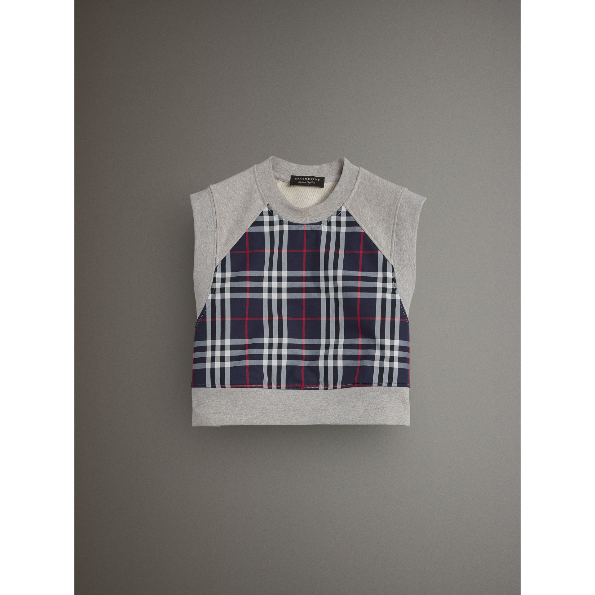 Tartan Panel Sleeveless Jersey Sweatshirt in Light Grey Melange - Women | Burberry - gallery image 4