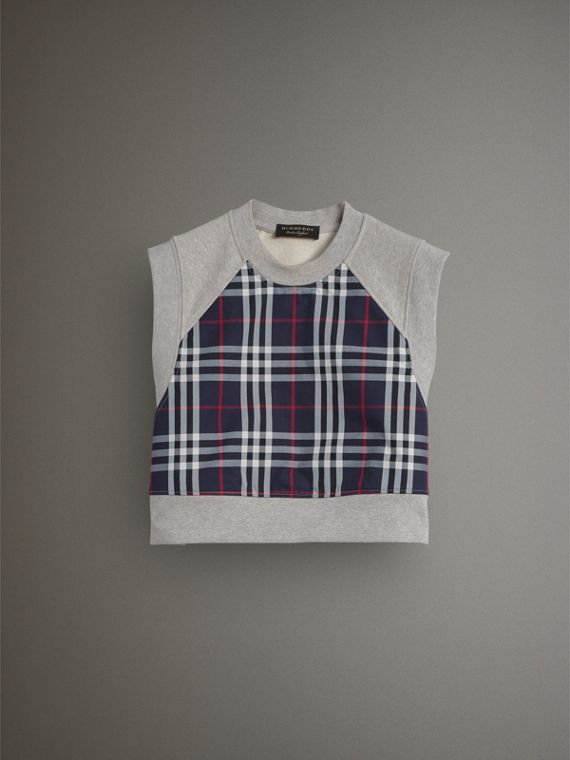 Tartan Panel Sleeveless Jersey Sweatshirt in Light Grey Melange - Women | Burberry Singapore - cell image 3