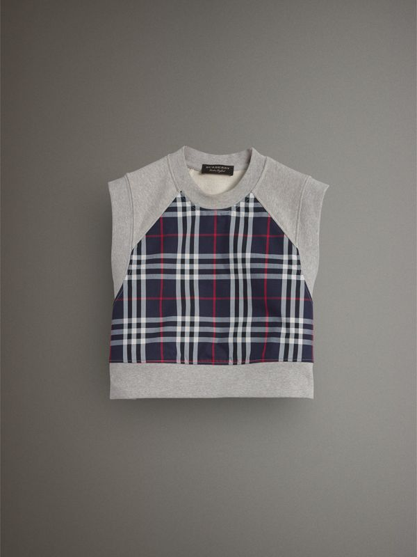 Tartan Panel Sleeveless Jersey Sweatshirt in Light Grey Melange - Women | Burberry - cell image 3