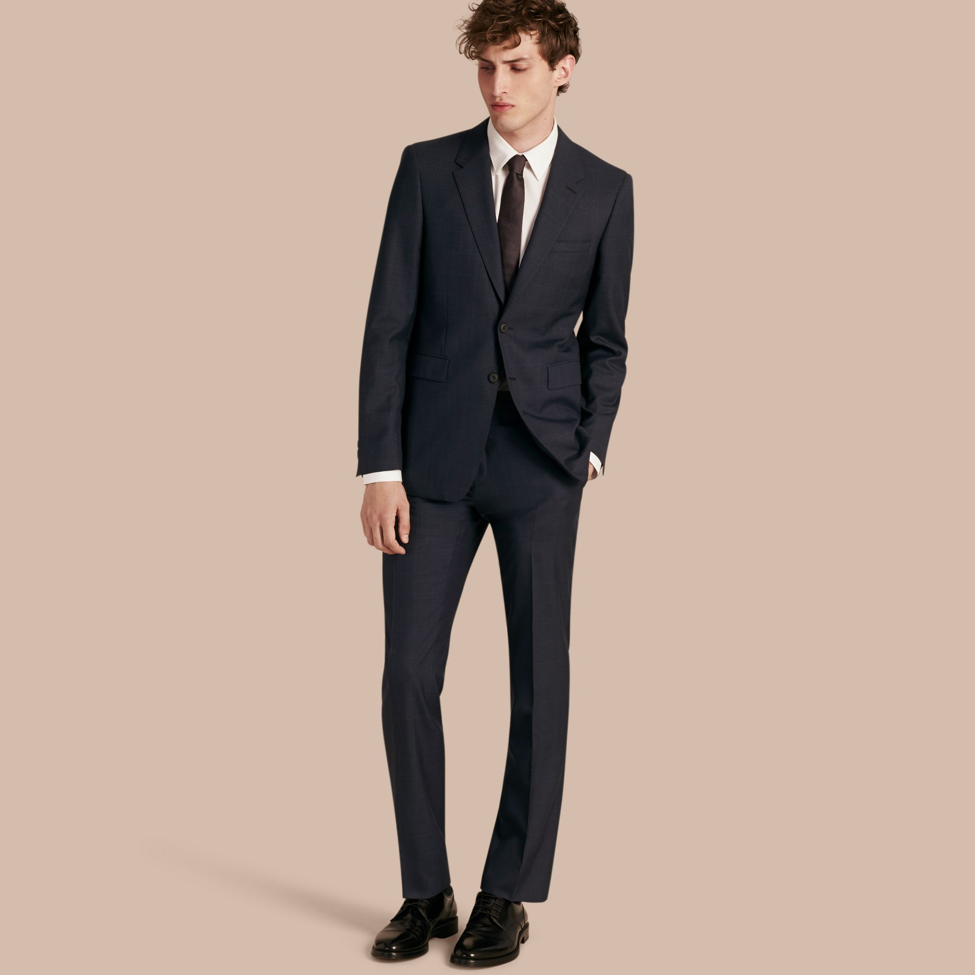 Navy Modern Fit Check Wool Part-canvas Suit Navy - gallery image 1