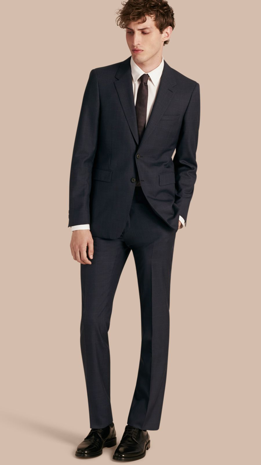 Navy Modern Fit Check Wool Part-canvas Suit Navy - Image 1