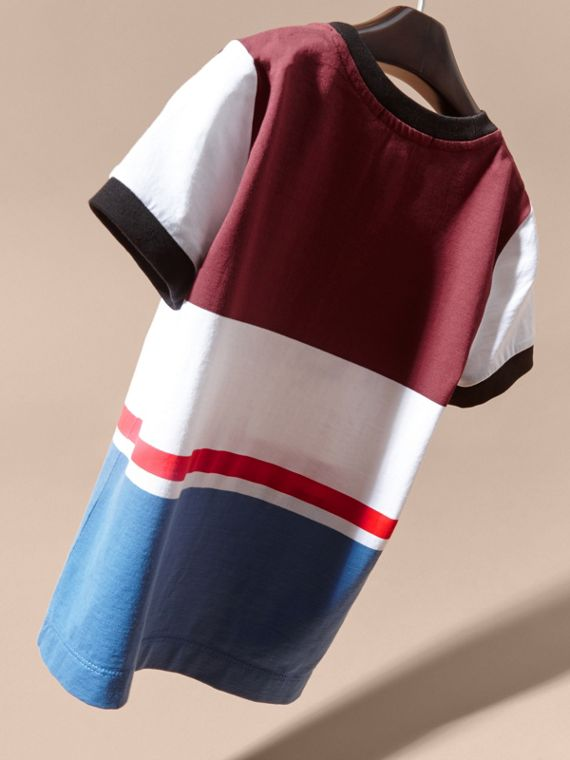 Claret Multi Stripe Cotton T-shirt Claret - cell image 3